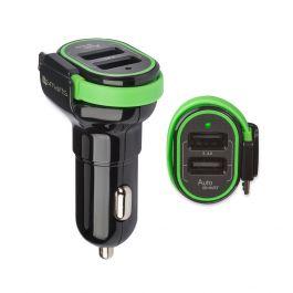 Incarcator Auto 3.4A 4smarts Multiport Black (2 porturi USB + cablu microUSB incorporat, lungime apr