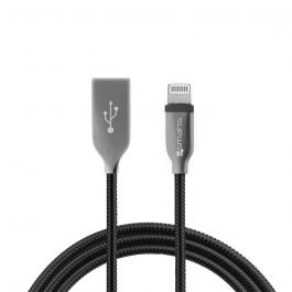 Cablu MFI Lightning 4smarts Ferrumcord Black (acoperit cu otel inoxidabil, 1m)