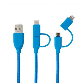 Cablu MicroUSB & Lightning MFI Boompods Duo Blue (1m, impletitura textila)