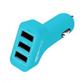 Incarcator Auto Boompods 4.8A Trio Power Blue (3xUSB, led indicator, incarcare rapida)