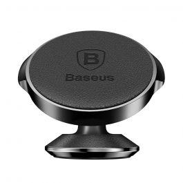 Suport Baseus Auto Small Ears Magnetic Black (piele naturala, rotatie 360°, cu adeziv)