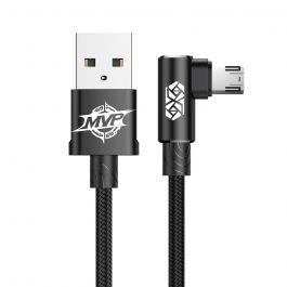 Cablu MicroUSB Baseus MVP Elbow USB Black (1m, output 2A, unghi 90°, impletitura nylon)