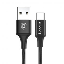 Cablu Type-C Baseus Rapid USB Black (1m, output 2A, impletitura textila, led indicator)