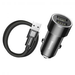 Incarcator Auto Type-C Baseus Small Screw 3.4A Dual USB Black (cablu inclus)