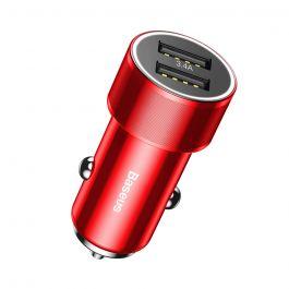 Incarcator Auto Baseus Small Screw 3.4A Dual USB Red