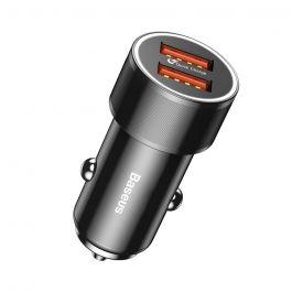 Incarcator Auto Baseus Small Screw Dual USB QC Black (max 2.4A pe fiecare port)