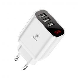 Incarcator Retea Baseus Mirror Lake Intelligent Triplu USB White (3xUSB max 3.4A)