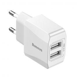 Incarcator Retea Baseus Mini 2.1A Dual USB White