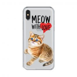 Husa iPhone XS / X Lemontti Silicon Art Meow With Love