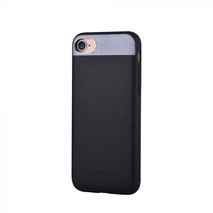 Carcasa iPhone SE 2 / 8 / 7 Comma Vivid Leather Black (piele naturala, aluminiu si margini flexibile