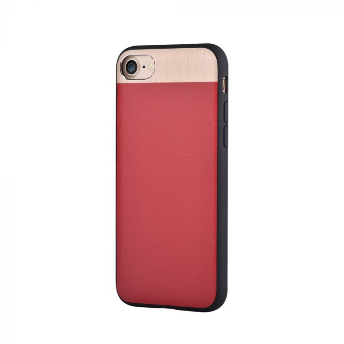 Carcasa iPhone 8 / 7 Comma Vivid Leather Red (piele naturala, aluminiu si margini flexibile)