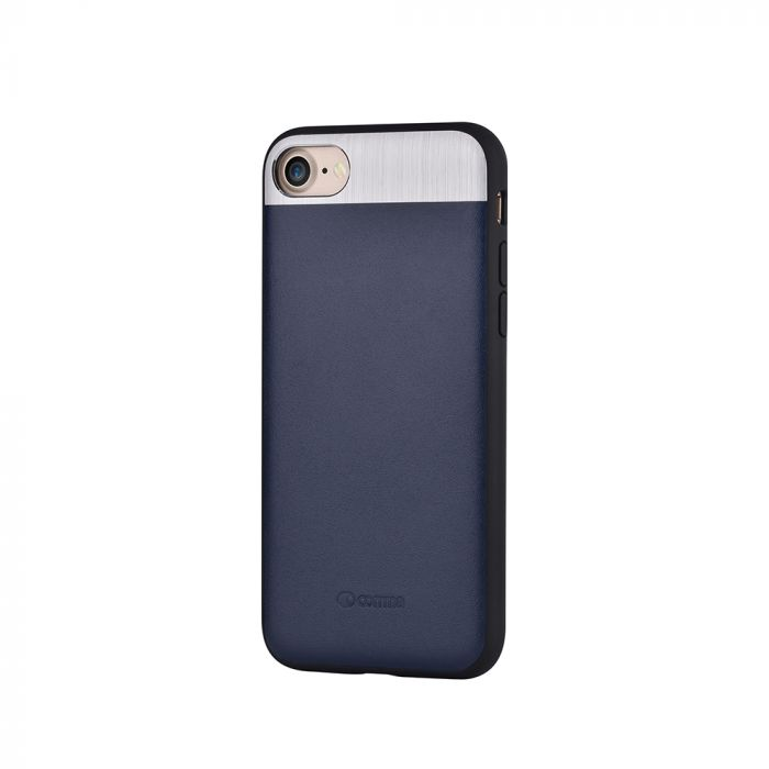 Carcasa iPhone 8 / 7 Comma Vivid Leather Blue (piele naturala, aluminiu si margini flexibile)