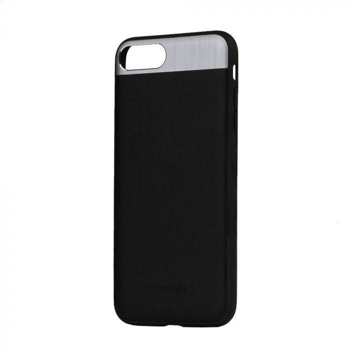 Carcasa iPhone 8 Plus / 7 Plus Comma Vivid Leather Black (piele naturala, aluminiu si margini flexib