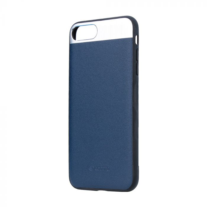Carcasa iPhone 8 Plus / 7 Plus Comma Vivid Leather Blue (piele naturala, aluminiu si margini flexibi