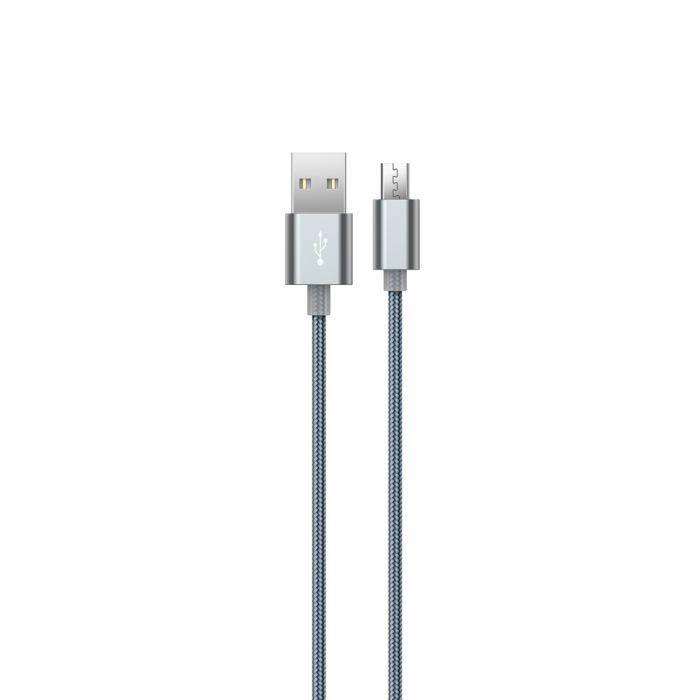 Cablu MicroUSB Devia Gracious Gray (1.5m, impletitura textila)