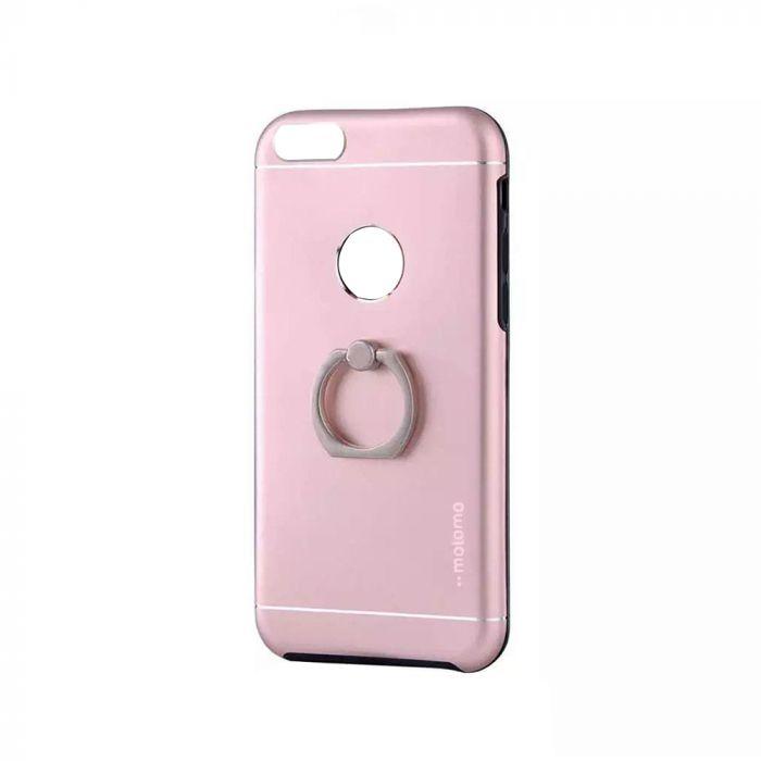Carcasa iPhone 7 Motomo Metal Rose Gold (margini flexibile, inel stand atasat)