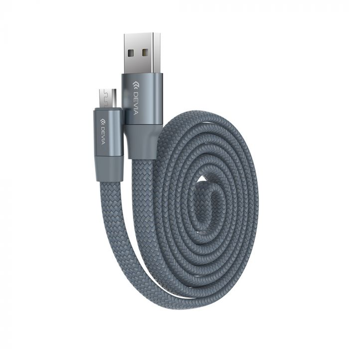 Cablu MicroUSB Devia Ring Gray (0.8m, impletitura nylon, 2.4A)