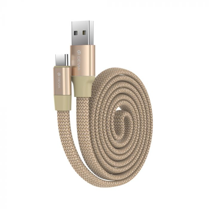 Cablu Type-C Devia Ring Champagne Gold (0.8m, impletitura nylon)