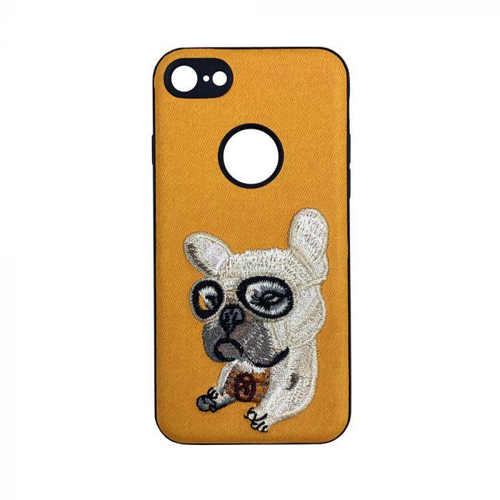 Carcasa iPhone 6/6S Lemontti Embroidery Orange Puppy