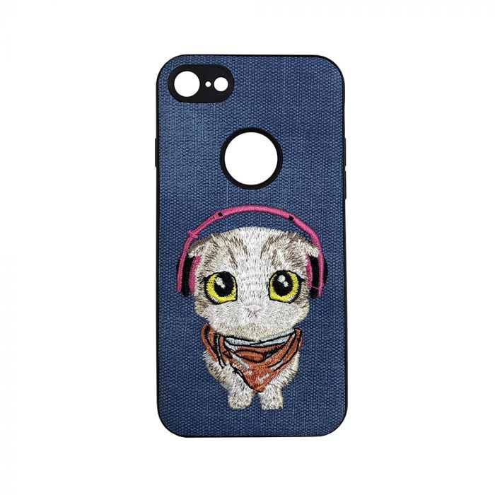 Carcasa iPhone 7 Lemontti Embroidery Blue Puppy