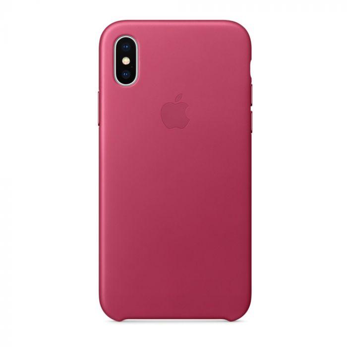 Carcasa iPhone X Apple Leather Pink Fuchsia (piele naturala)