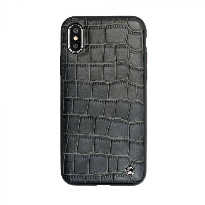 Carcasa iPhone X Occa Skin II Black (piele naturala, textura croco, margini flexibile)