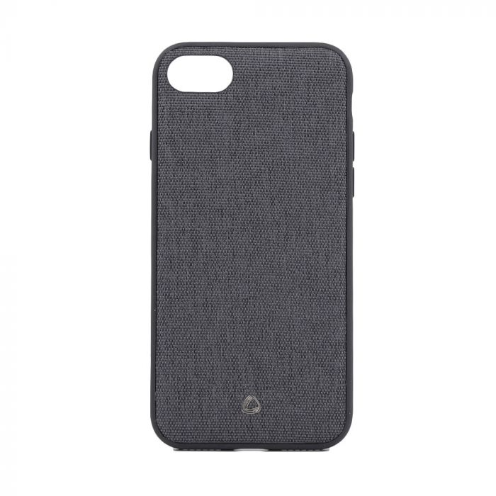 Carcasa iPhone 8 / 7 Occa Linen Car Black (margini flexibile, material textil, placuta metalica inte