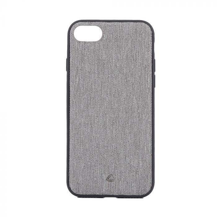 Carcasa iPhone SE 2020 / 8 / 7 Occa Linen Car Gray (margini flexibile, material textil, placuta meta