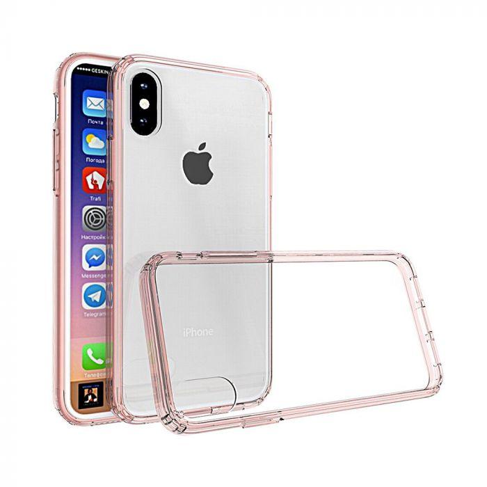 Carcasa iPhone X Just Must Pure II Pink (spate transparent, margini flexibile)