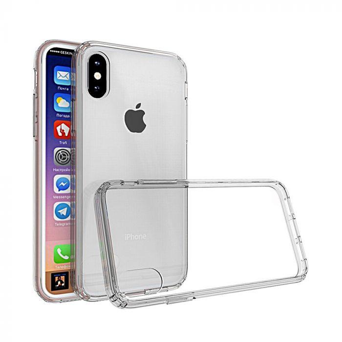 Carcasa iPhone X Just Must Pure II Clear (spate transparent, margini flexibile)