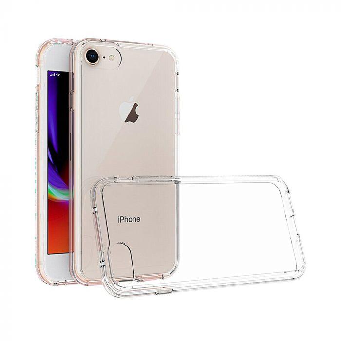 Carcasa iPhone 8 Just Must Pure II Clear (spate transparent, margini flexibile)
