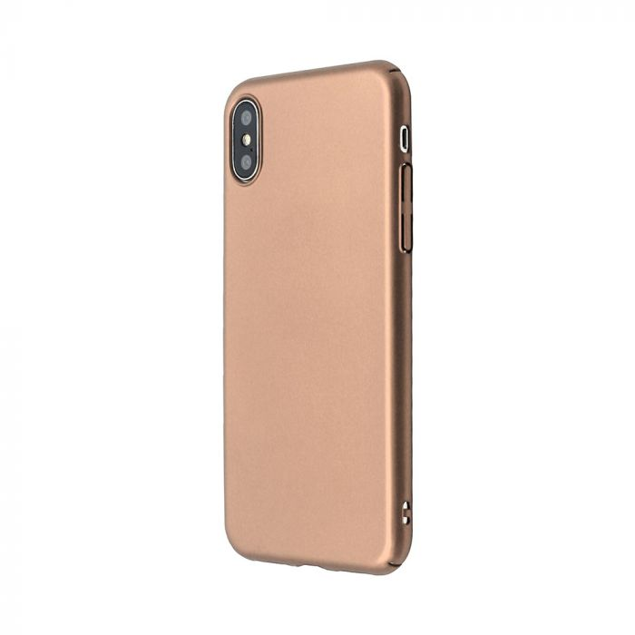 Carcasa iPhone X / XS Just Must Uvo Gold (material fin la atingere, slim fit)