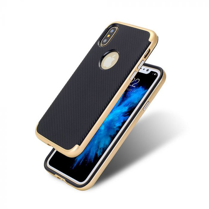 Carcasa iPhone X Just Must Arm Duo Gold (spate textura carbon negru)