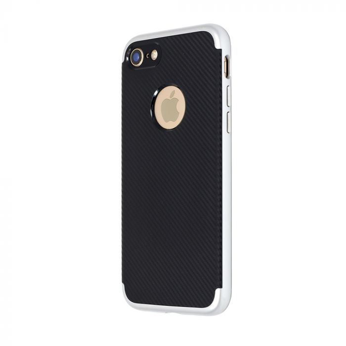 Carcasa iPhone 8 Just Must Arm Duo Silver (spate textura carbon negru)