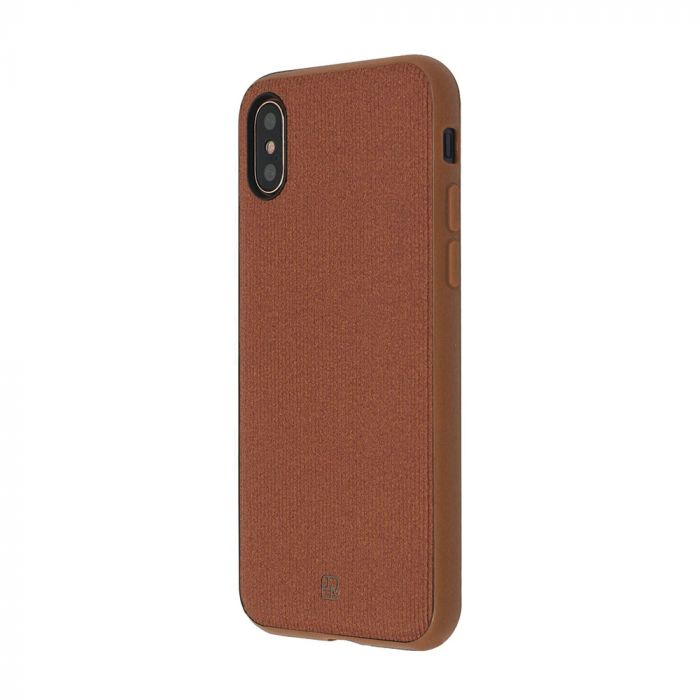 Carcasa iPhone X Just Must Pilot Brown (margini flexibile, placuta metalica integrata)