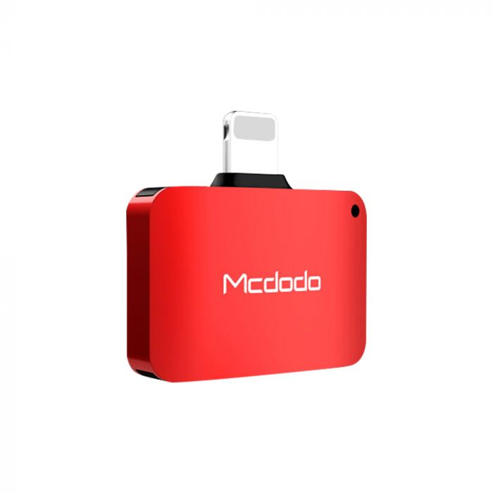 Adaptor Lightning la Dual Port Lightning Mcdodo Compact Red (aluminiu, audio + incarcare)