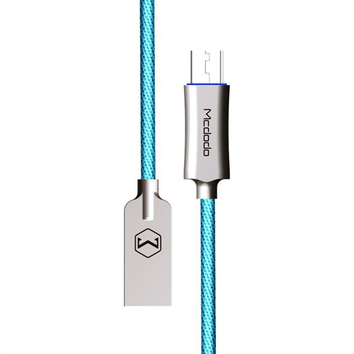 Cablu MicroUSB Mcdodo Auto Disconnect Blue (1m, QC3.0, led indicator)