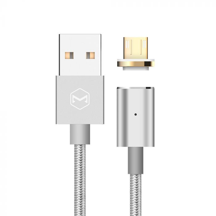 Cablu MicroUSB Mcdodo Magnetic Silver (1.2m, 2.4A max, led indicator)