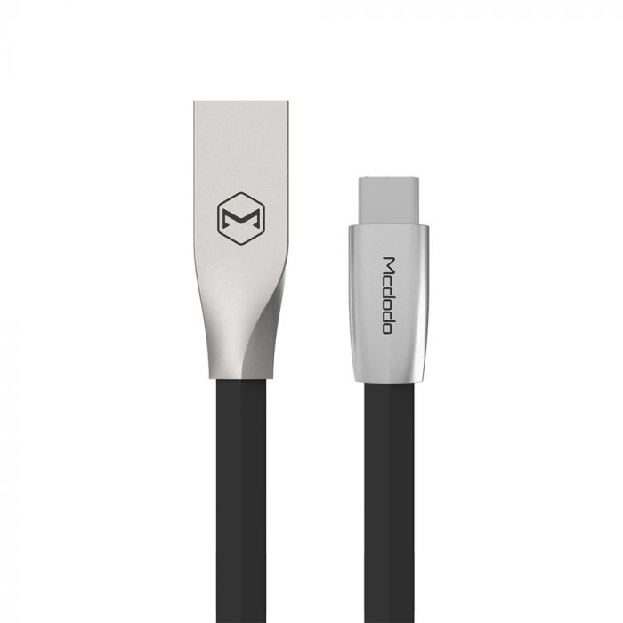 Cablu Type-C Mcdodo Zn-Link Silver Black (2m, 2.4A max)