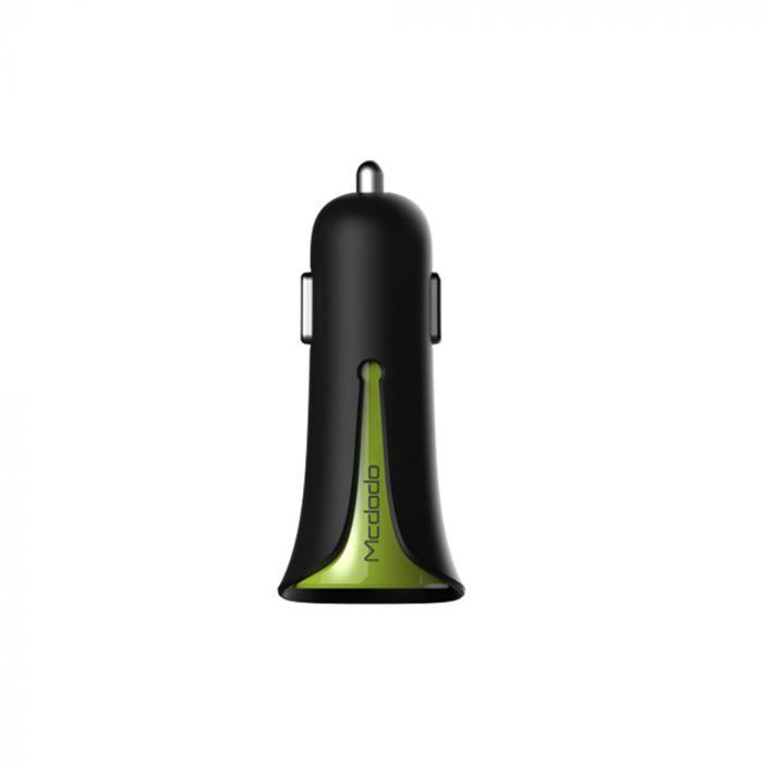 Incarcator Auto 3.4A Mcdodo Dual USB Black Mask Green (3.4A max total, 2.4A max per port)