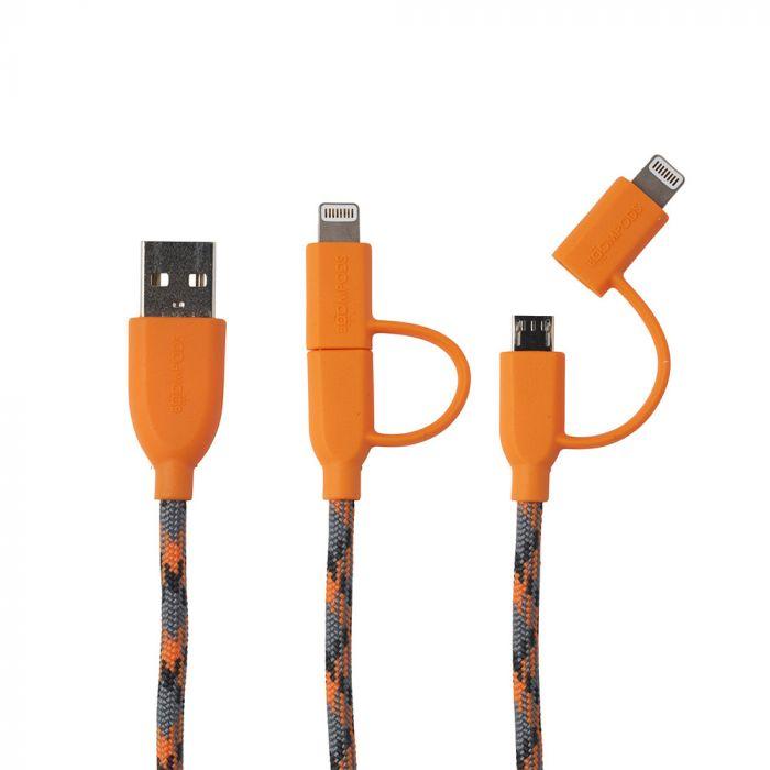 Cablu MicroUSB & Lightning MFI Boompods Duo Orange (1m, impletitura textila)