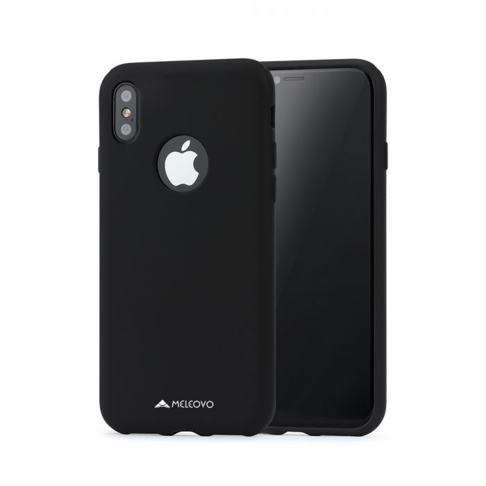 Husa iPhone X / XS Meleovo Liquid Silicone Jacket Black (touch ultrasoft, catifelat)