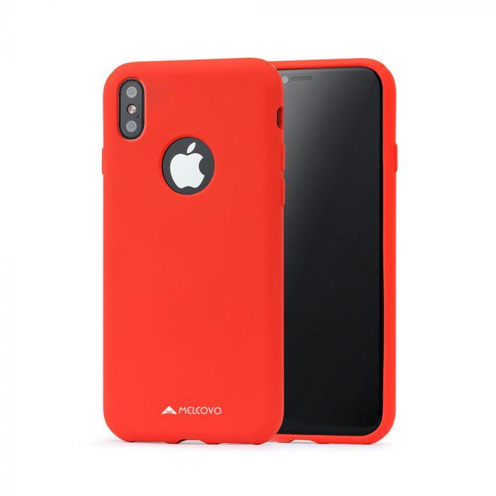 Husa iPhone X / XS Meleovo Liquid Silicone Jacket Red (touch ultrasoft, catifelat)