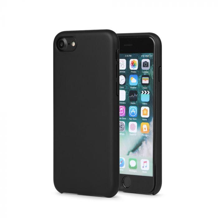 Carcasa iPhone 8 Meleovo Pure Gear II Black (culoare mata fina, interior piele intoarsa)