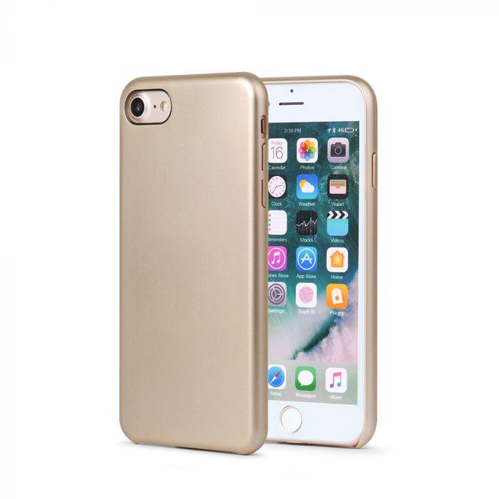 Carcasa iPhone 8 Meleovo Pure Gear II Gold (culoare metalizata fina, interior piele intoarsa)
