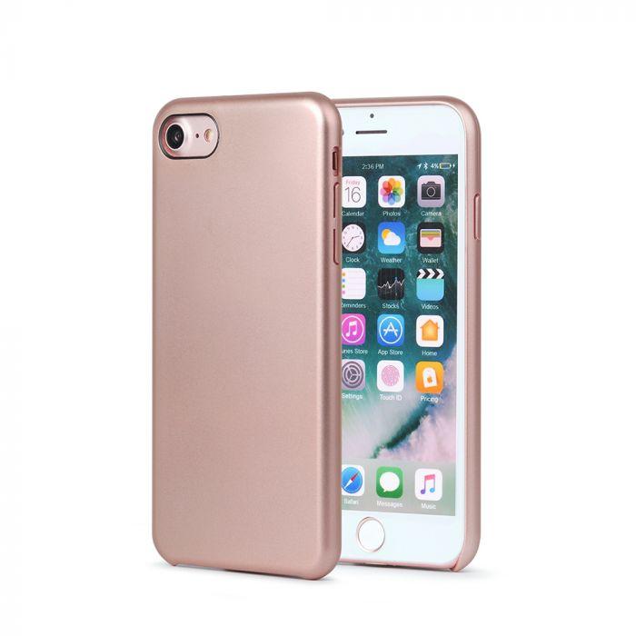 Carcasa iPhone 8 Meleovo Pure Gear II Rose Gold (culoare metalizata fina, interior piele intoarsa)