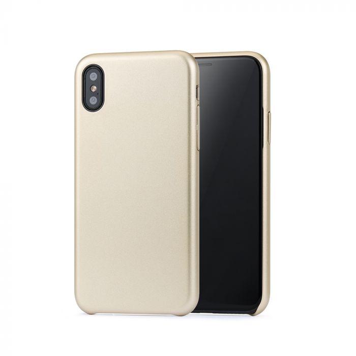 Carcasa iPhone X / XS Meleovo Pure Gear II Gold (culoare metalizata fina, interior piele intoarsa)