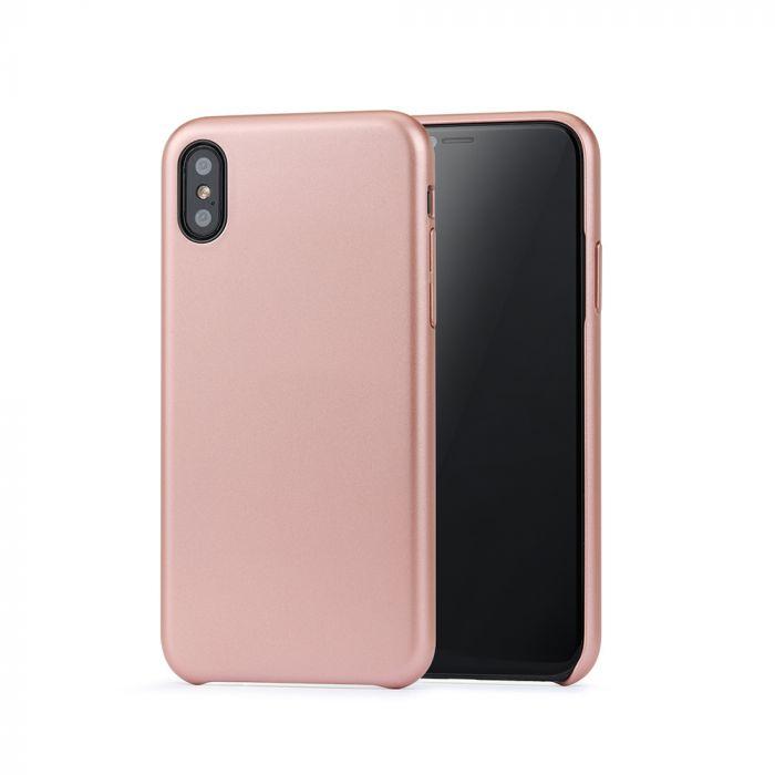 Carcasa iPhone X / XS Meleovo Pure Gear II Rose Gold (culoare metalizata fina, interior piele intoar