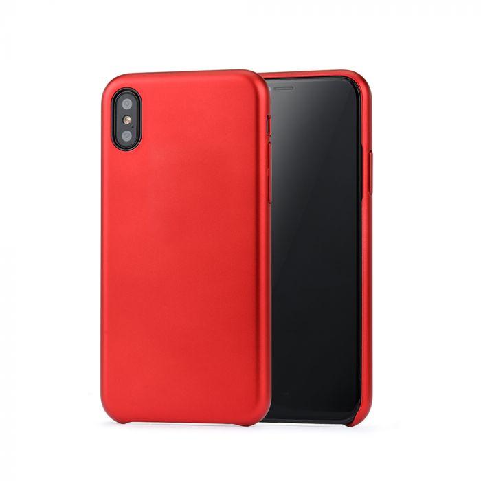 Carcasa iPhone X / XS Meleovo Pure Gear II Red (culoare metalizata fina, interior piele intoarsa)