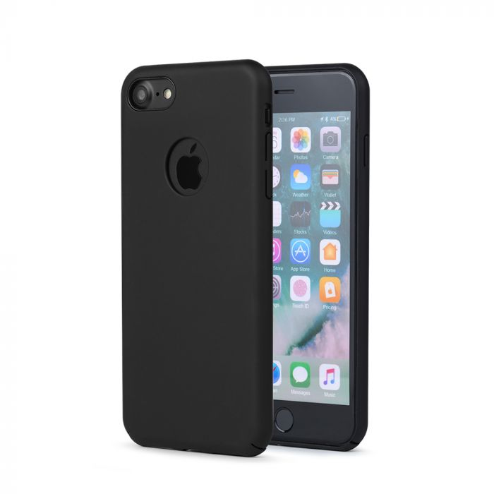 Carcasa iPhone 8 Meleovo 360 Shield Black (culoare mata fina, captuseala din microfibra)